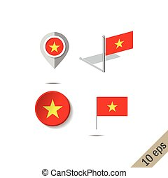 Map pins with flag of VIETNAM