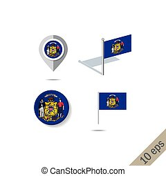 Map pins with flag of Wisconsin - vector illustration