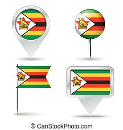 Map pins with flag of Zimbabwe