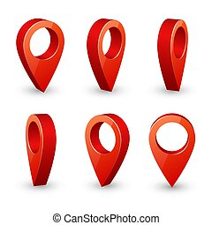 Map pointer 3d pin. Location symbols vector set isolated on...