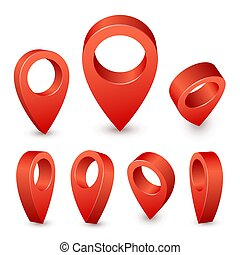 Map pointer 3d pin. Red pin marker for travel place....