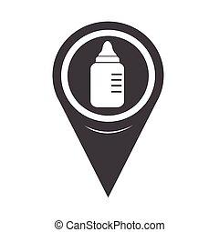 Map Pointer baby milk bottle icon