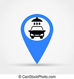 Map pointer car wash vector icon.