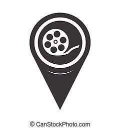 Map Pointer Film Reel Icon