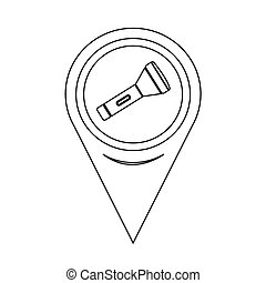 Map Pointer Flashlight Icon
