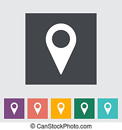 Map pointer flat single icon. Vector illustration.