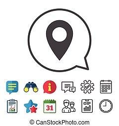 Map pointer icon. GPS location symbol.