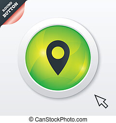 Map pointer icon. GPS location symbol. Green shiny button....
