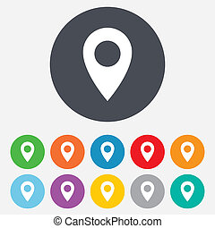 Map pointer icon. GPS location symbol. Round colourful 11 buttons.