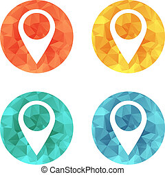 Map pointer icon in bright buttons