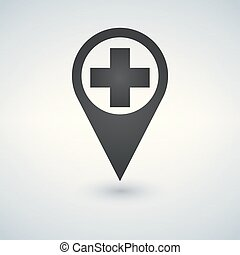 map pointer icon with cross hospital symbol position.