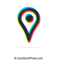 Map pointer icon with shadow. CMYK offset effect