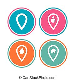 Map pointer icons. Home, food and user location.