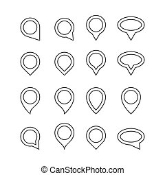 map pointer icons set