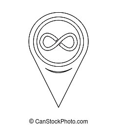 Map Pointer infinity symbol icon