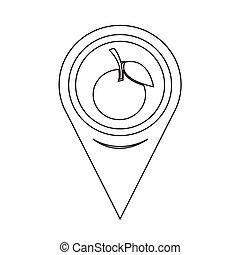 Map Pointer Orange Fruit Icon