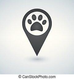Map Pointer paw print icon.
