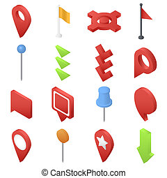 Map pointer pin arrow icons set, isometric style