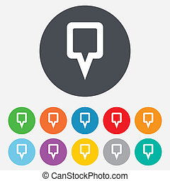 Map pointer sign icon. Location marker symbol. Round colourful 11 buttons. Vector