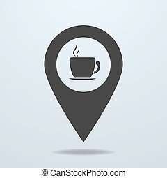 Map pointer with a cup