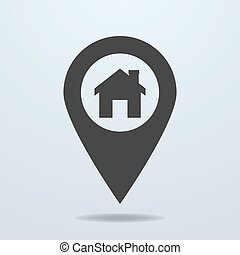 Map pointer with a home symbol