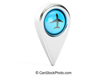Map pointer with airplane. Airport location concept, 3D rendering