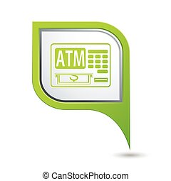 Map pointer with ATM cashpoint icon - Green map pointer with...