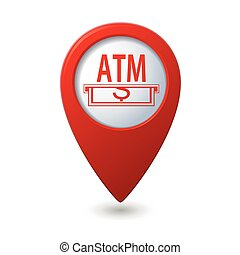 Map pointer with ATM cashpoint icon