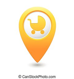 Map pointer with baby carriage icon