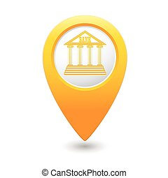 Map pointer with bank building icon
