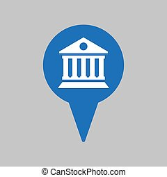 Map pointer with bank icon on grey background.