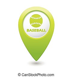 Map pointer with baseball icon