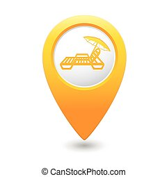 Map pointer with beach chair icon