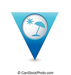 Map pointer with beach icon