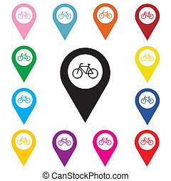 Map pointer with bicycle icon.