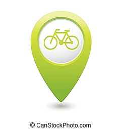 Map pointer with bicycle icon