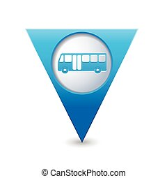 Map pointer with bus icon