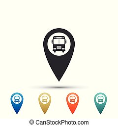Map pointer with bus icon isolated on white background. Set elements in colored icons. Flat design. Vector Illustration