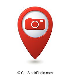 Map pointer with camera icon