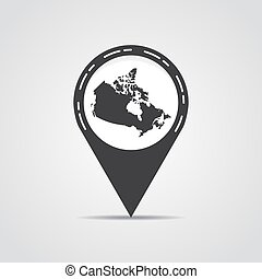 Map pointer with Canada map on a gray background. Vector illustration