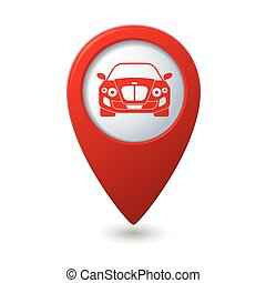 Map pointer with car icon