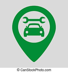 Map pointer with car service icon on grey background