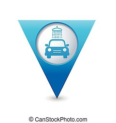 Map pointer with car wash icon