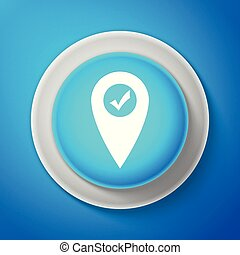 Map pointer with check mark icon isolated on blue background. Marker location sign. Tick symbol. For location maps. Sign for navigation. Circle blue button. Vector illustration