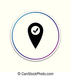 Map pointer with check mark icon isolated on white background. Marker location sign. Tick symbol. For location maps. Sign for navigation. Circle white button. Vector Illustration