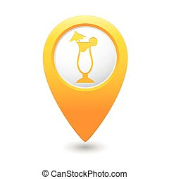 Map pointer with cocktail icon. Vector illustration