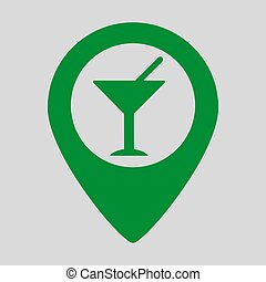 Map pointer with cocktail icon on grey background.
