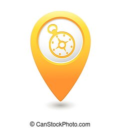 Map pointer with compass icon