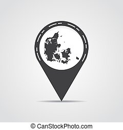 Map pointer with Denmark map on a gray background. Vector illustration