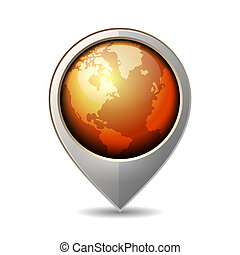 Map Pointer with Earth Globe Icon. Vector Illustration